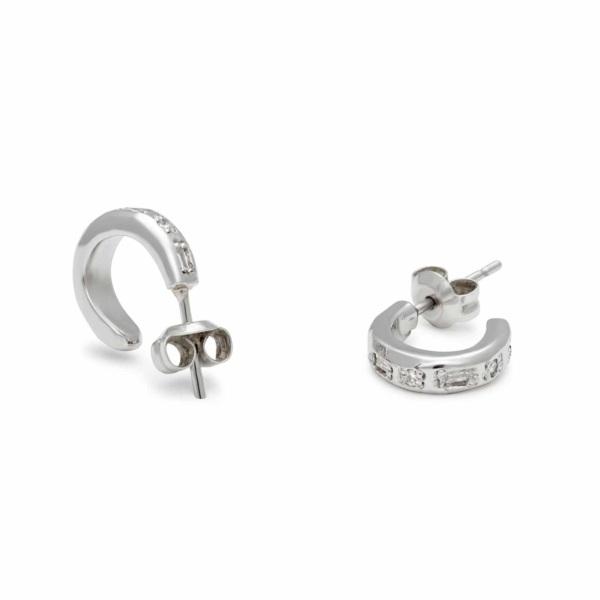 Tiny Huggie Earrings with Baguette Diamonds