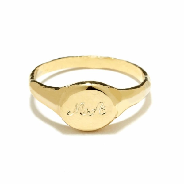 signet ring yellow gold script engraving