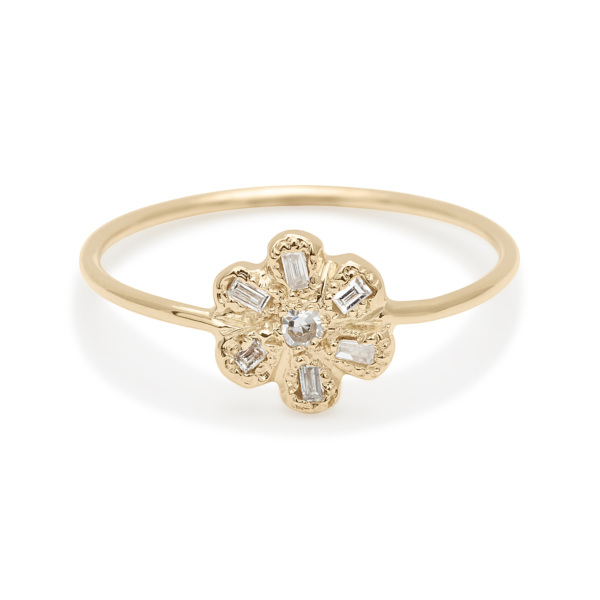 diamond baguette daisy ring