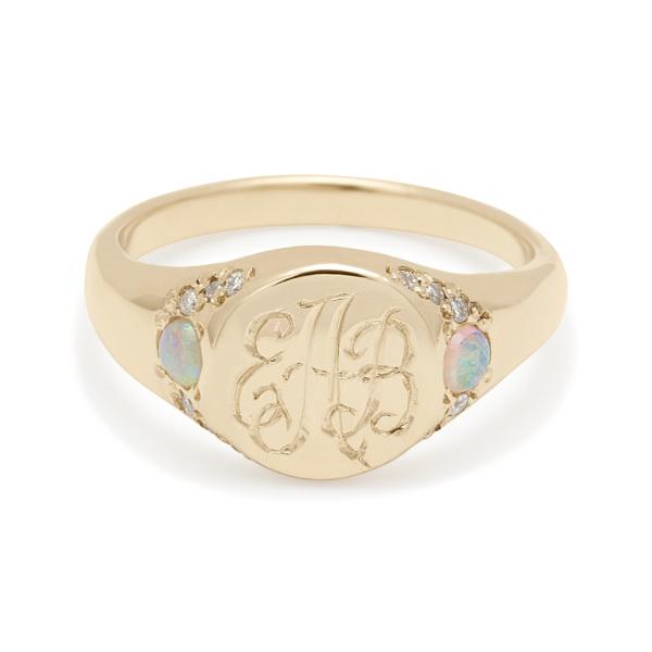 opal diamond large signet ring