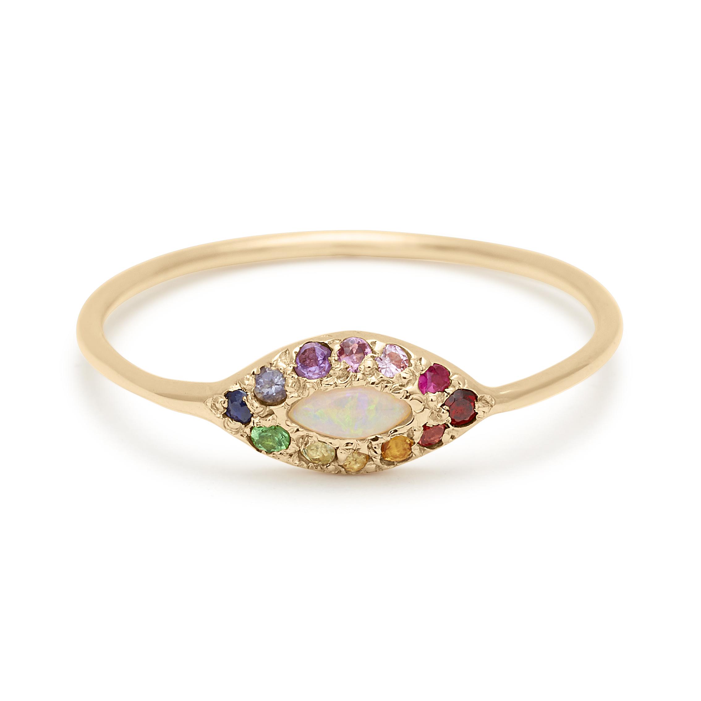 opal rainbow eye ring