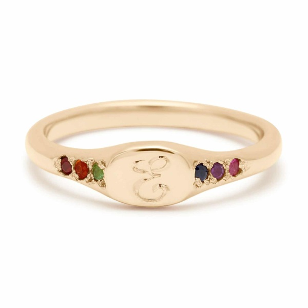 rainbow mini signet ring