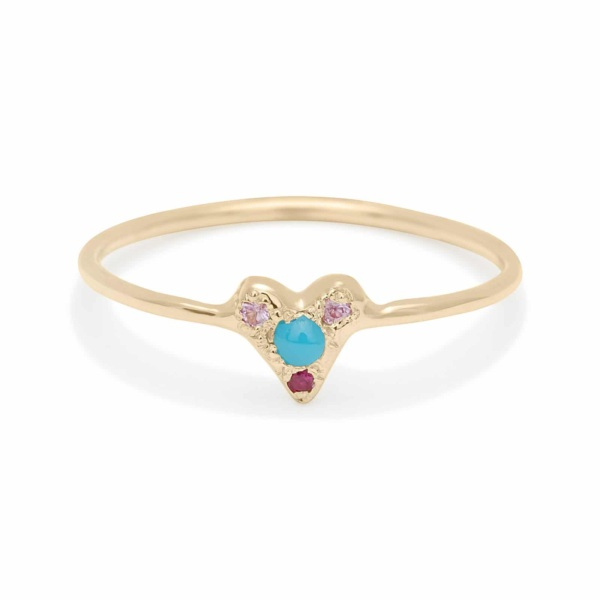 turquoise puff heart ring