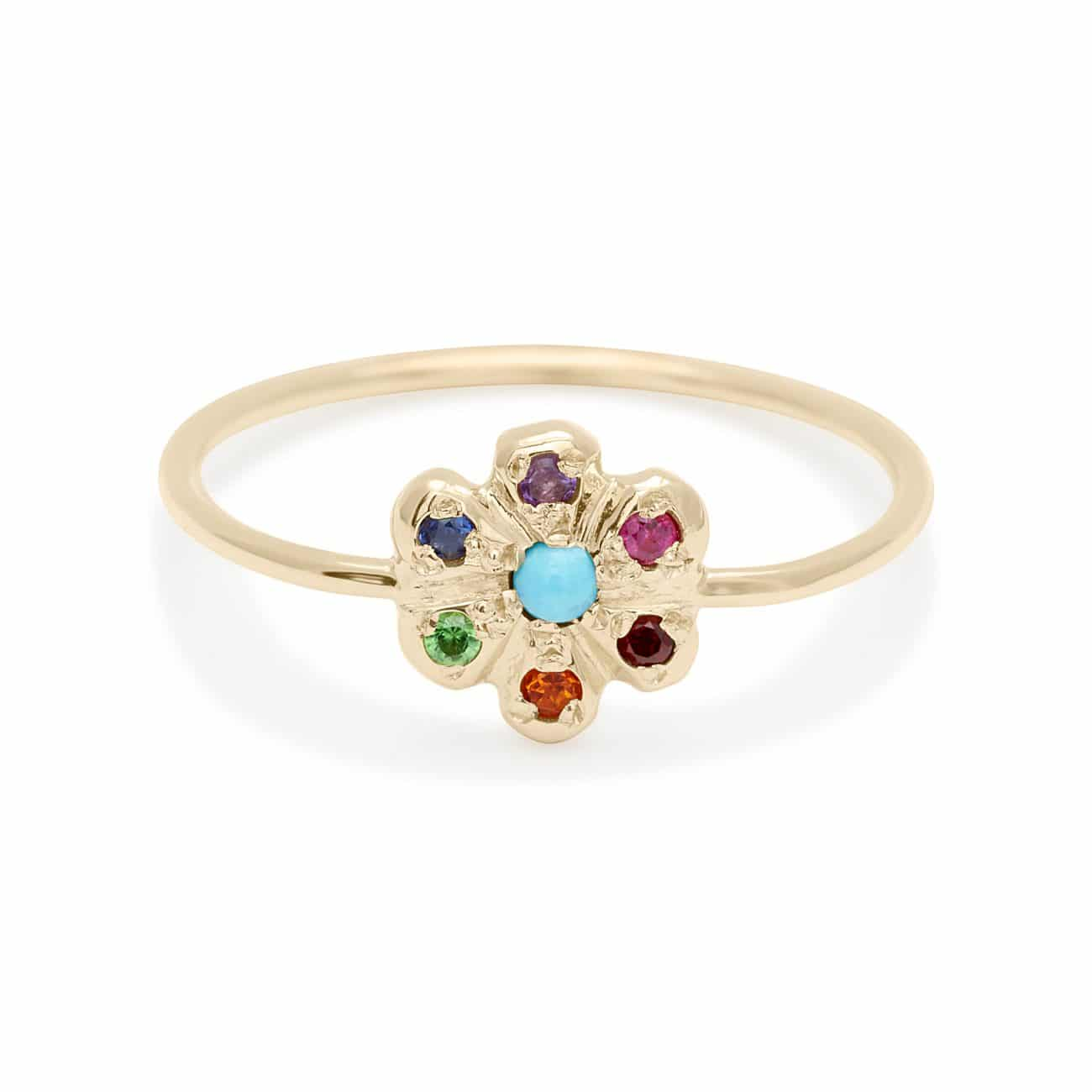 turquoise rainbow daisy ring