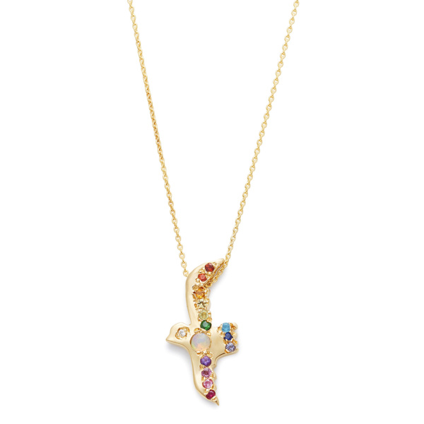 Opal Rainbow Flying Bird Necklace-yellow-gold