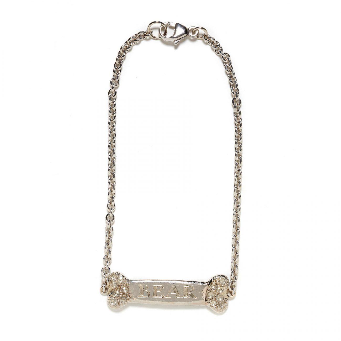 dog bone id bracelet in white gold with diamond