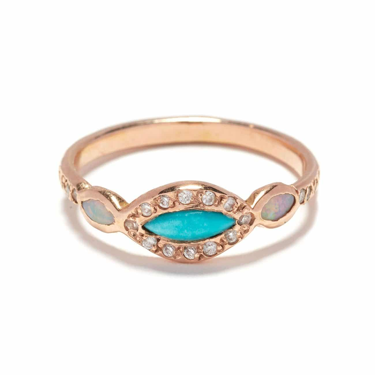 Turquoise Opal Classic Eye Ring pink gold