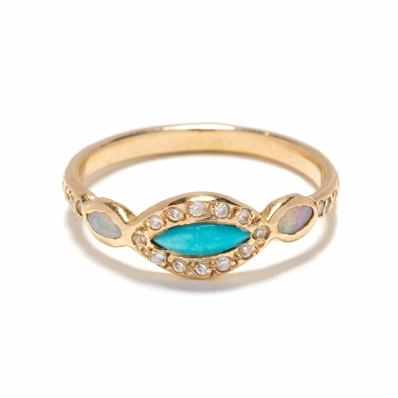 Turquoise Opal Classic Eye Ring yellow gold
