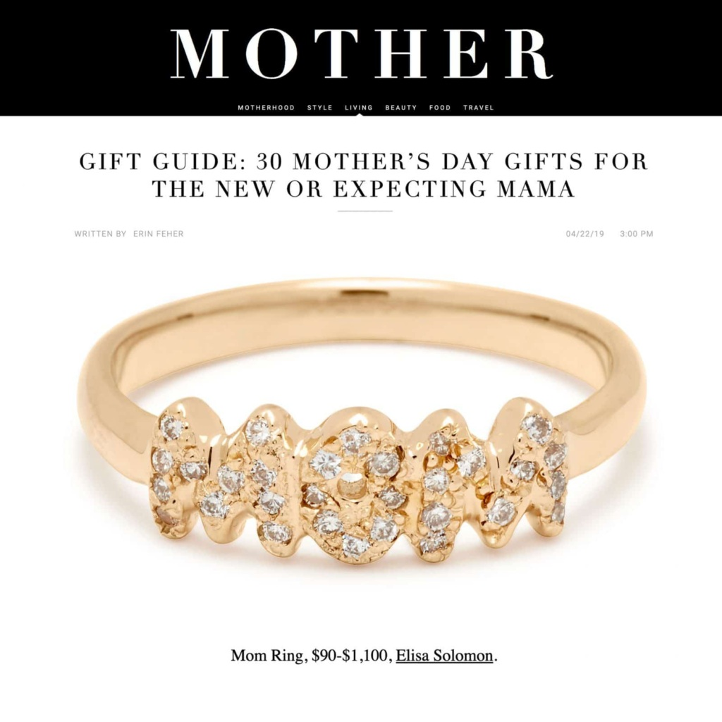 MOM Diamond Ring Featured in MOTHER Mag Mother's Day Gift Guide 2019