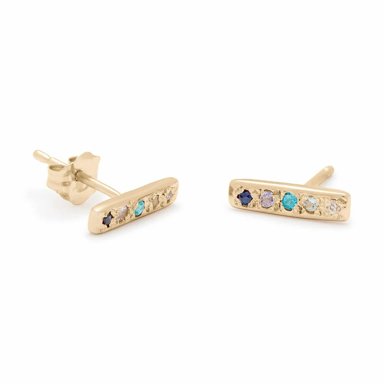 Skinny Bar Stud Earrings - in 14k Yellow Gold