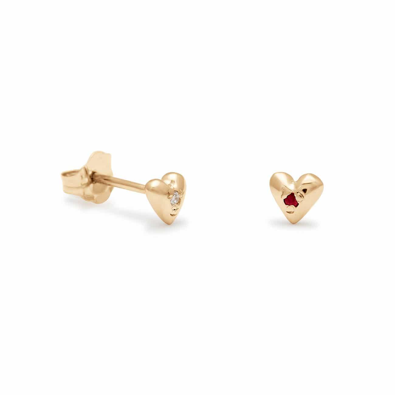 Teeny Tiny Heart Stud Earrings in Yellow Gold