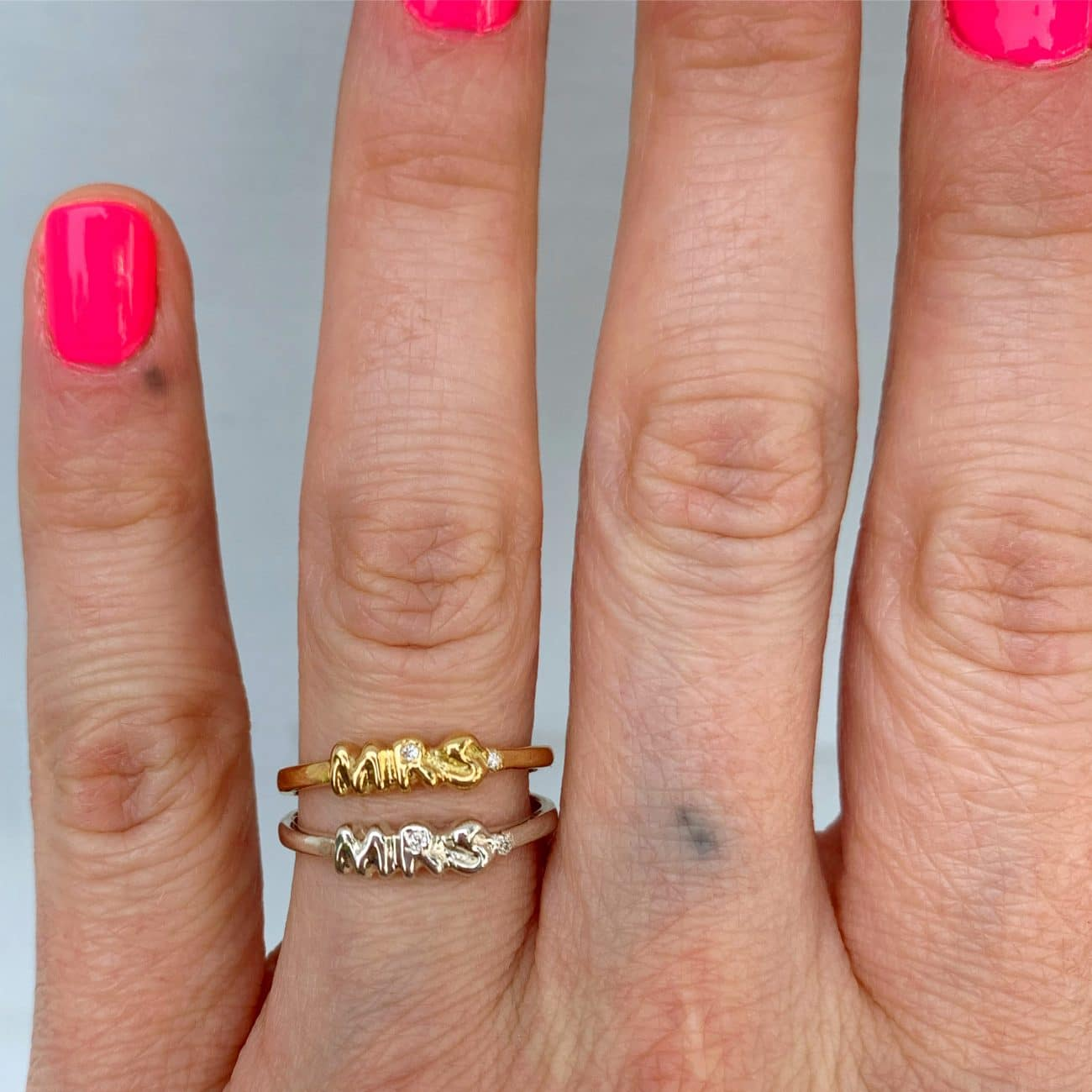 wearing the mrs ring with diamond in 14k gold