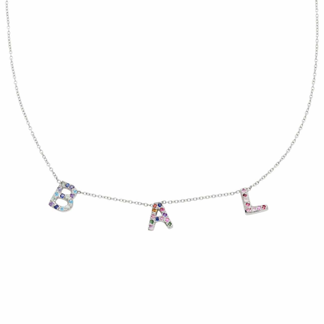 3 Letter Necklace in Platinum