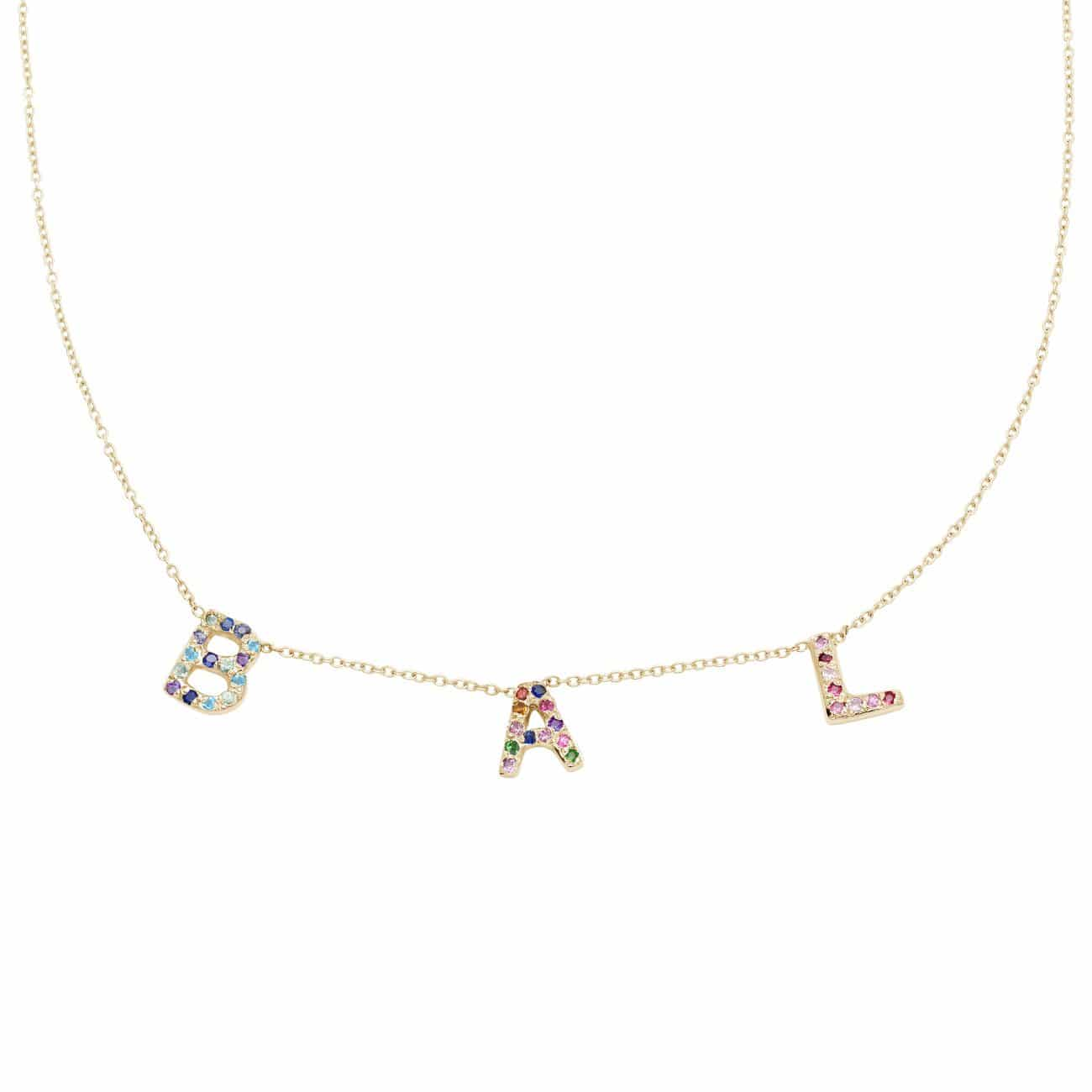 3 Letter Necklace in 14k Yellow Gold