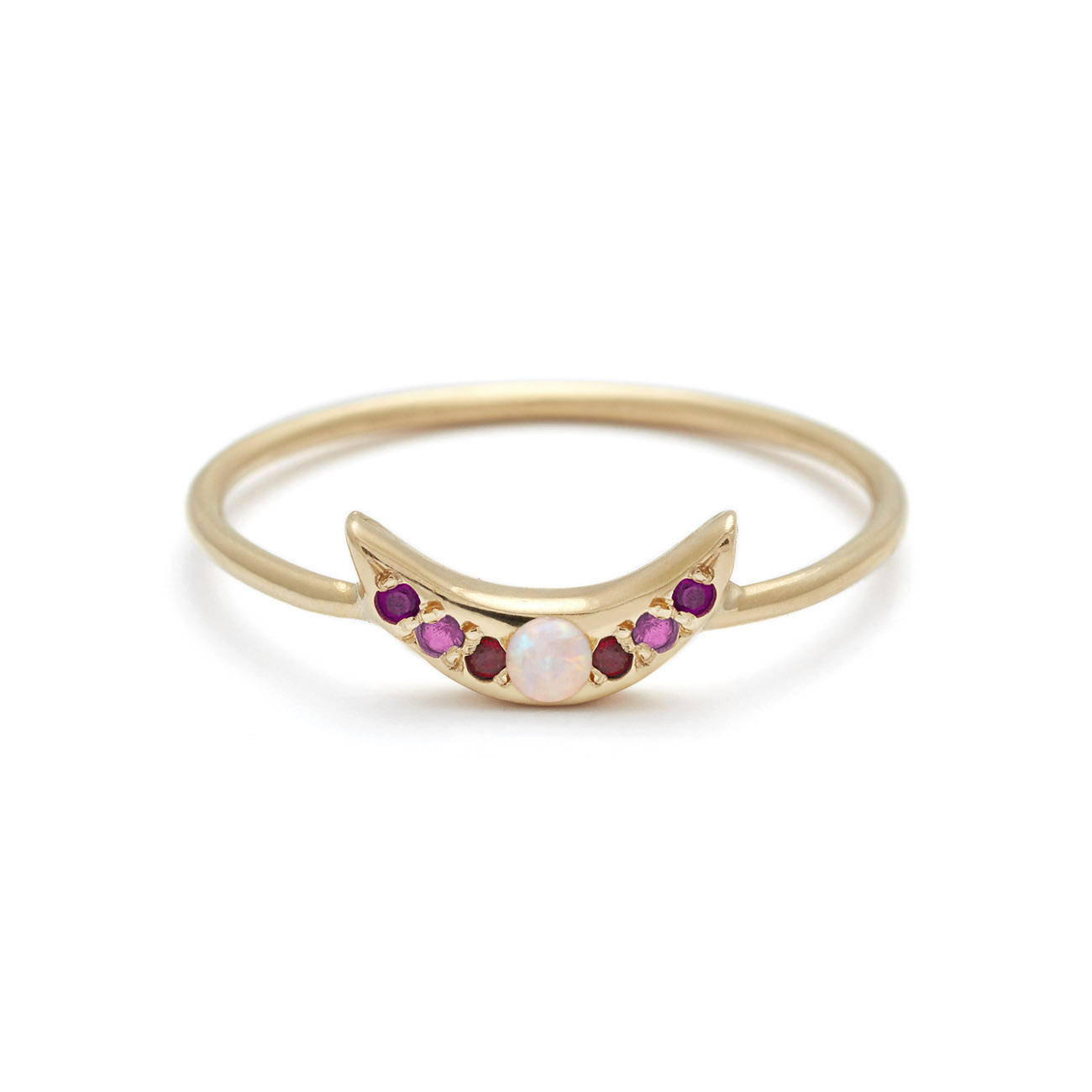 Mini Moon Ring - Personalize the Gemstones - 14k Yellow Gold