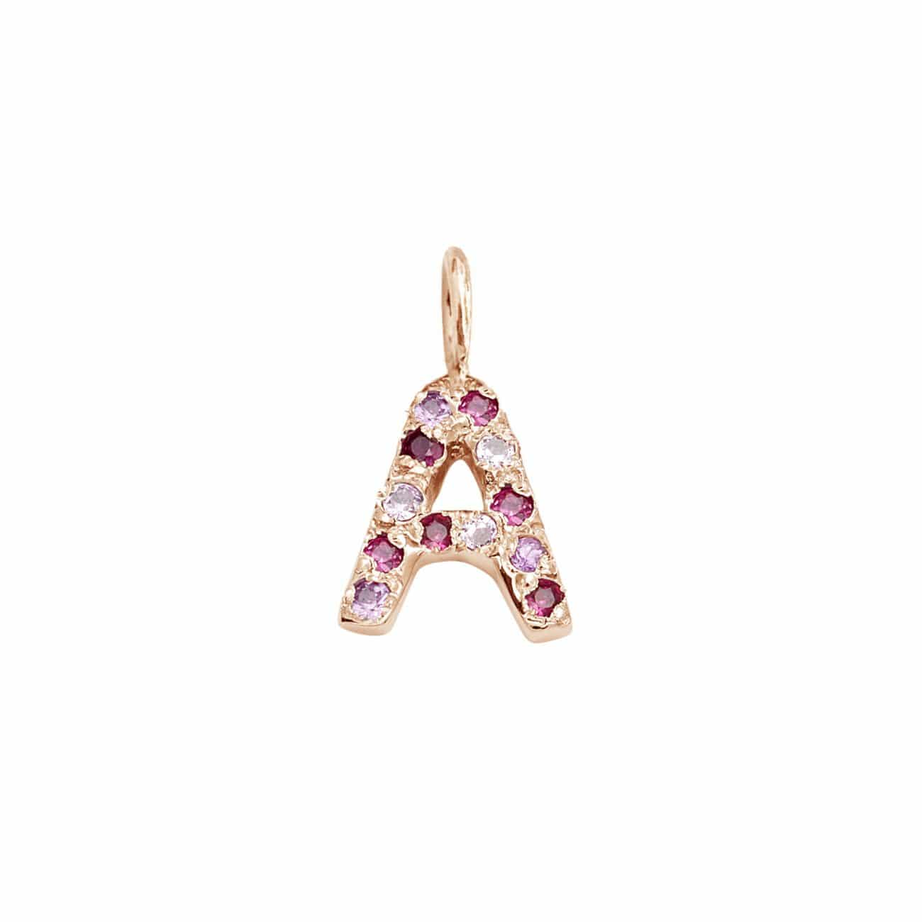 Letter Charm Pendant with Pink Hue Gems in 14k Pink Gold