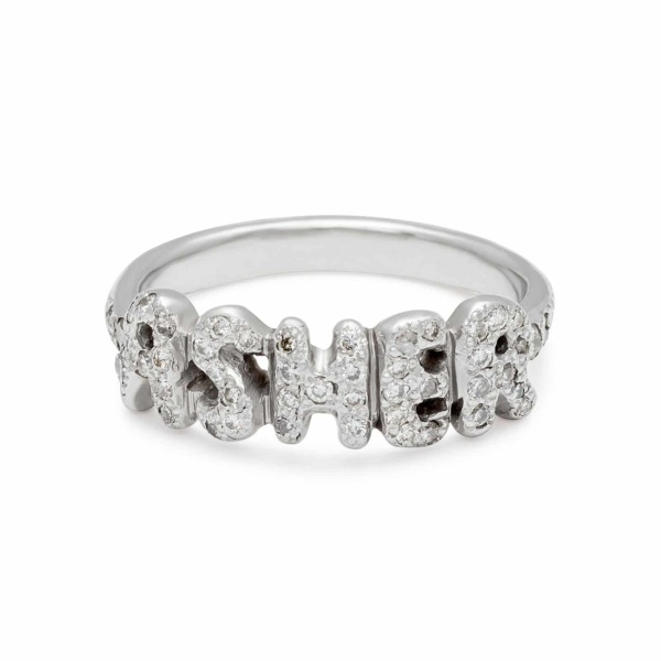 platinum name ring with white diamonds