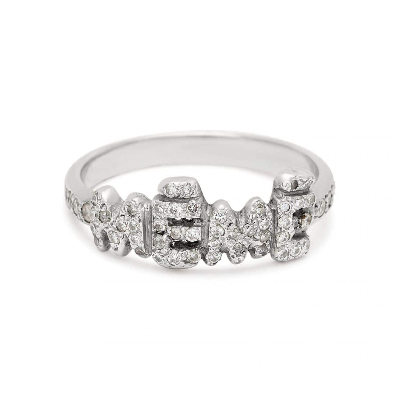 platinum meme ring with white diamonds custom