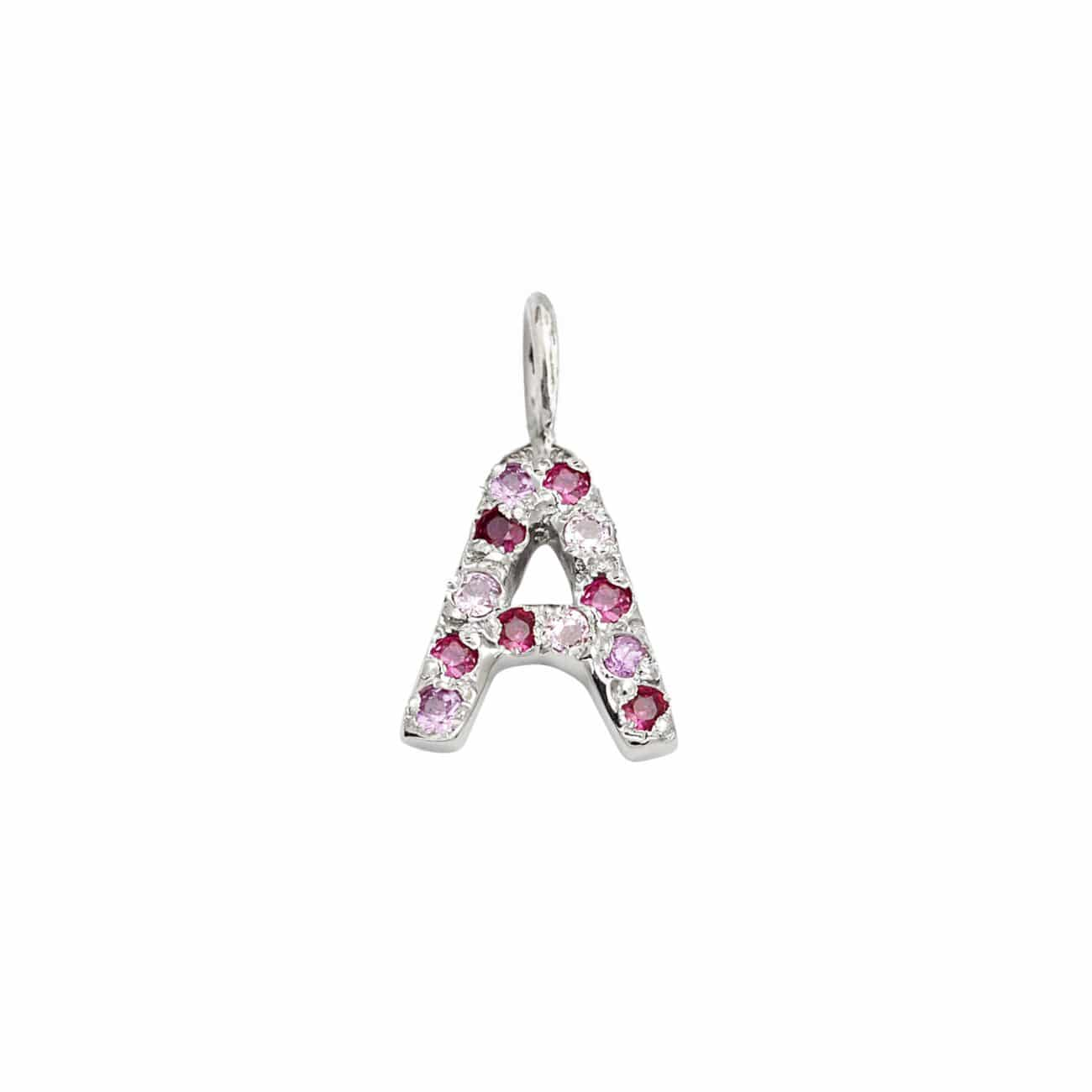 Letter Charm Pendant with Pink Hue Gems in 14k White Gold