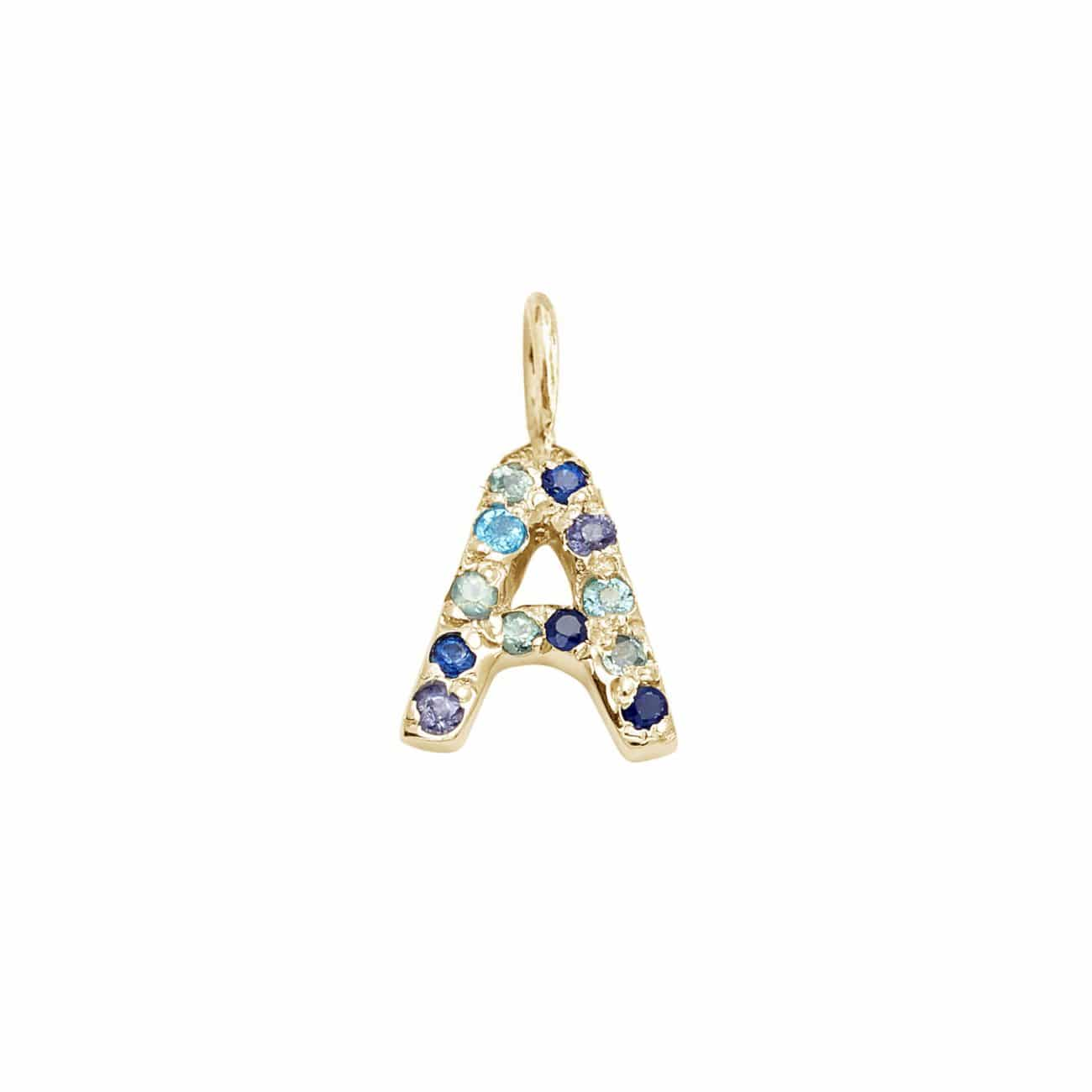 Letter Charm Pendant with Blue Hue Gems in 14k Yellow Gold