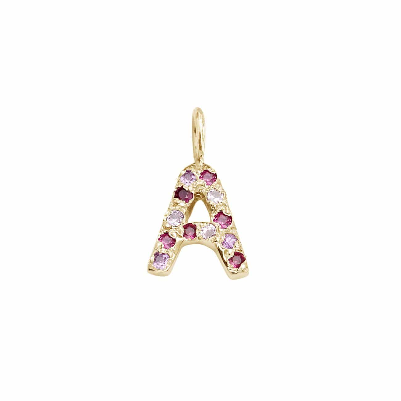 Letter Charm Pendant with Pink Hue Gems in 14k Yellow Gold
