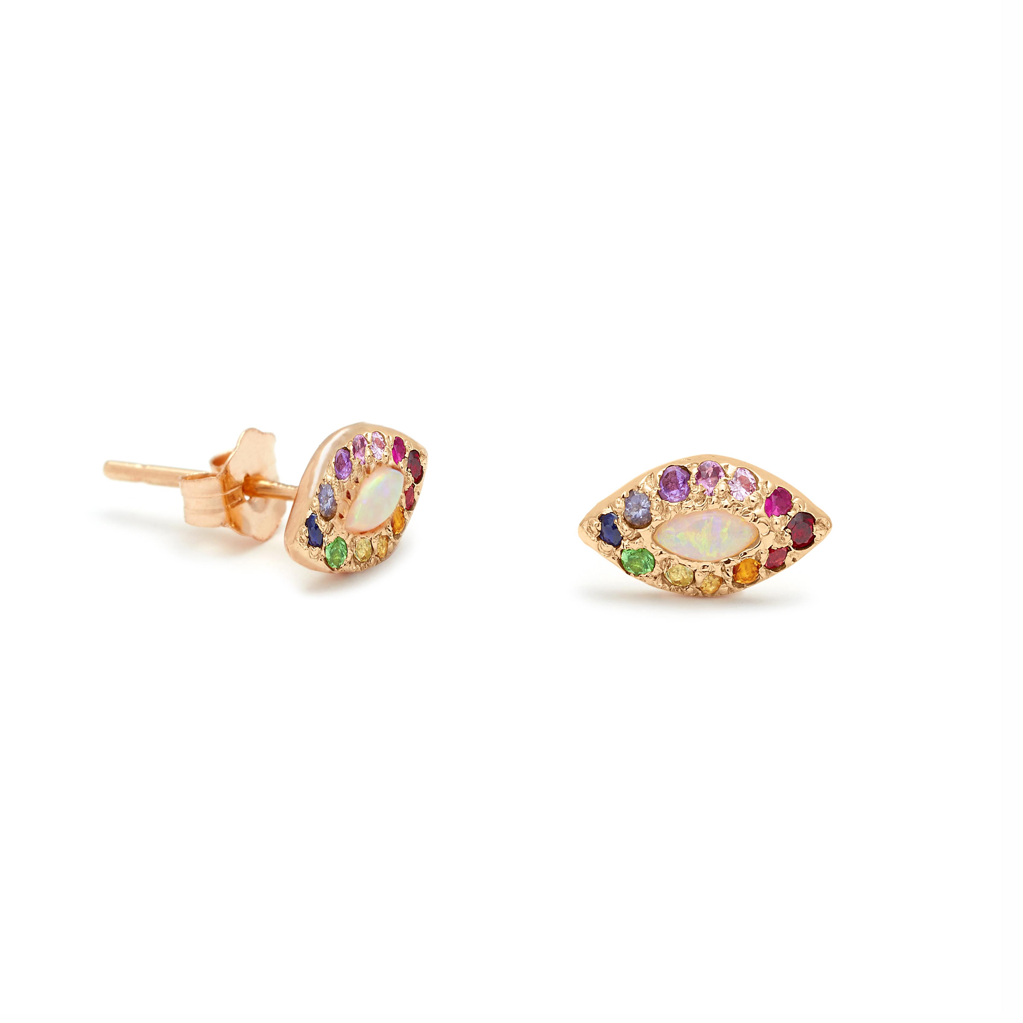 Pink Gold Opal Rainbow Eye Stud Earrings - Elisa Solomon Jewelry
