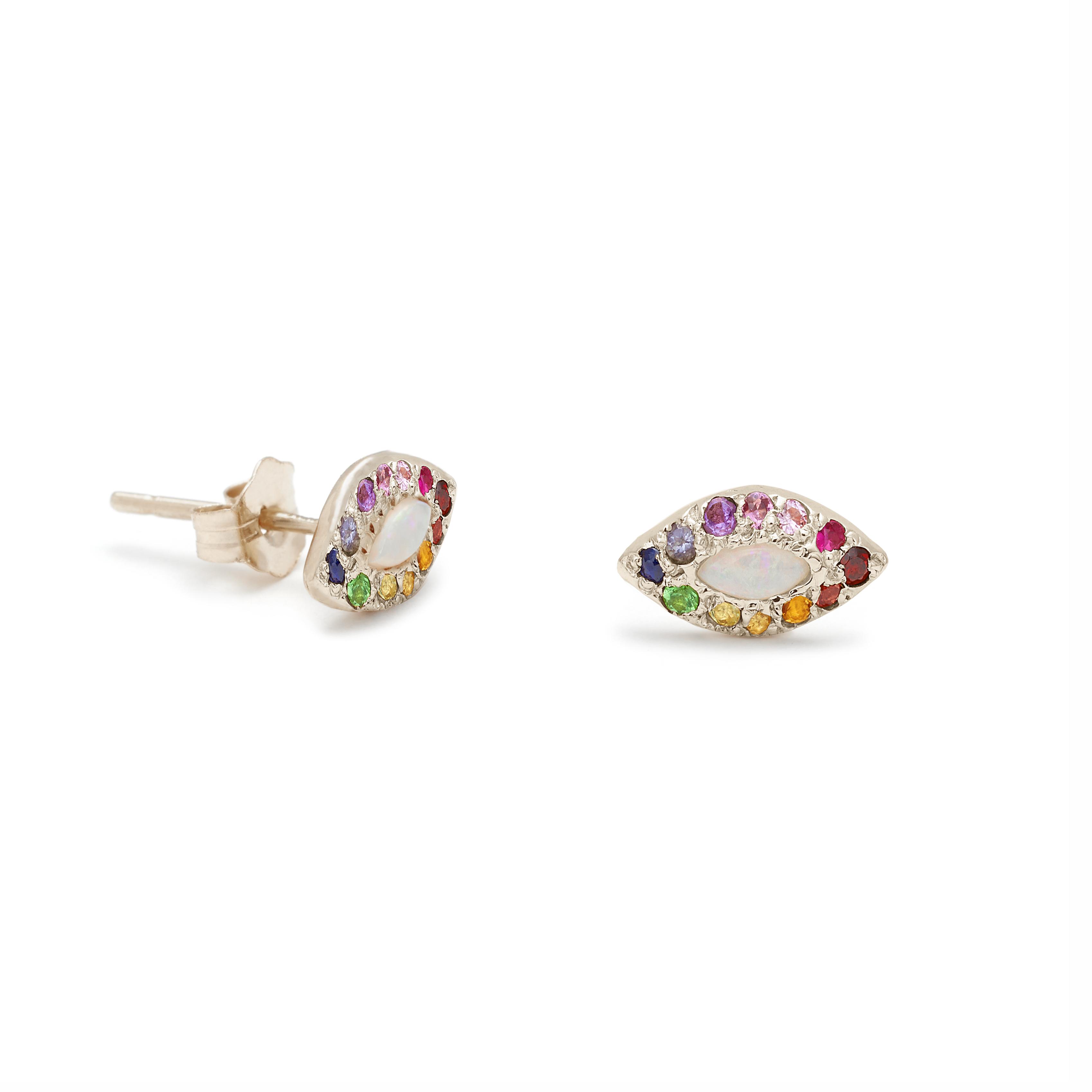 White Gold Opal Rainbow Eye Stud Earrings - Elisa Solomon Jewelry