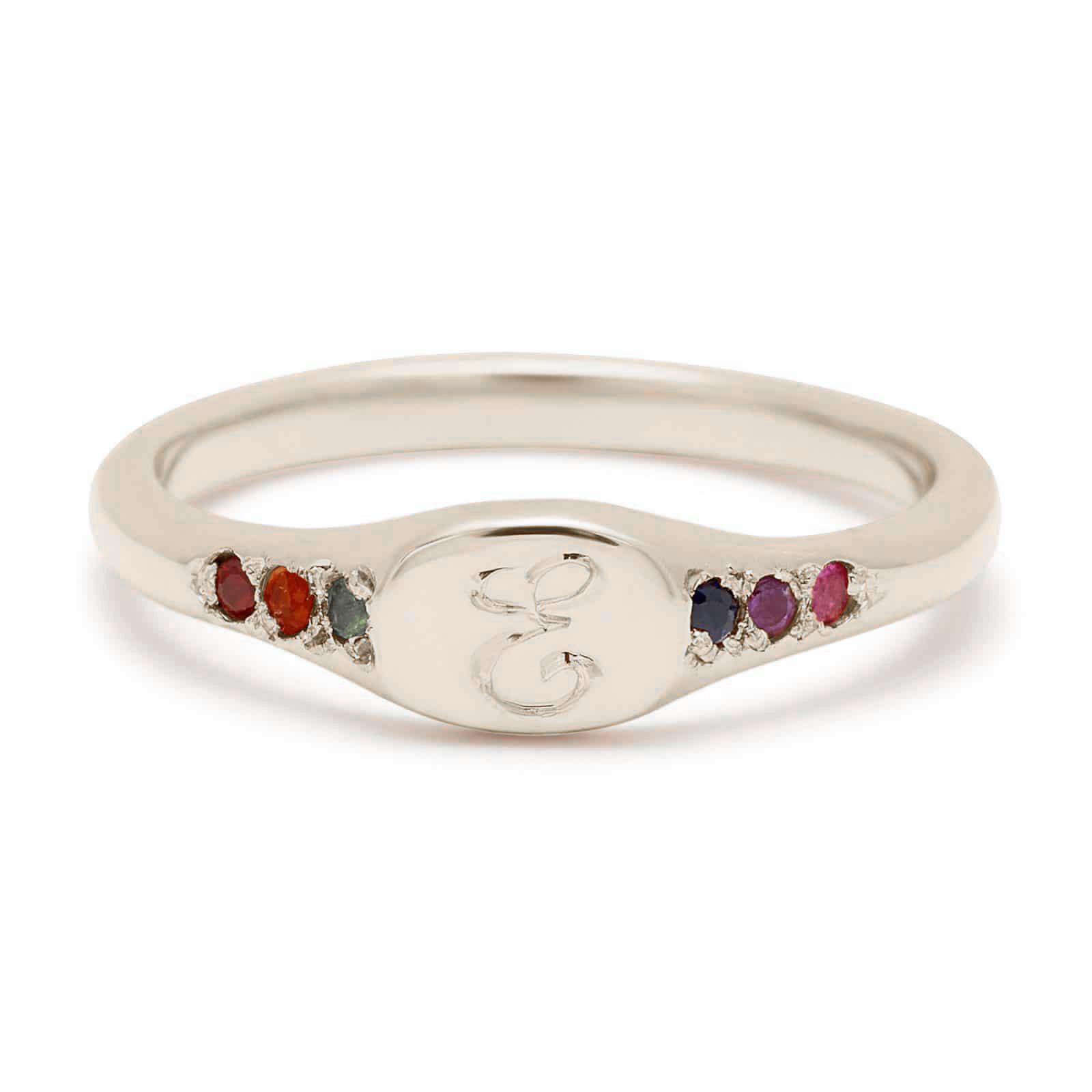 white gold rainbow mini signet ring