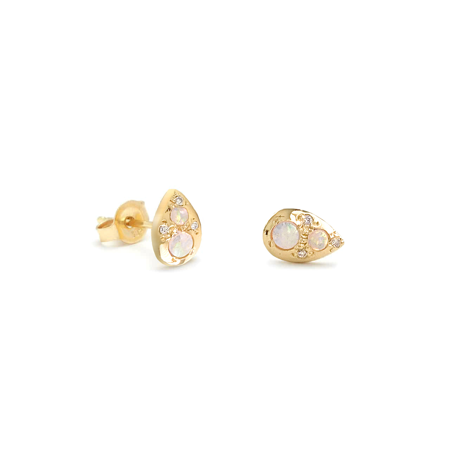 Pear Shaped Tiny 18k Gold Stud Earrings