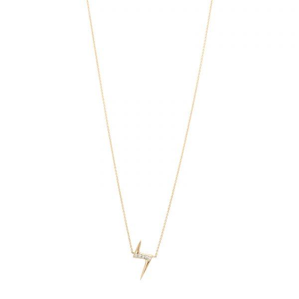 White Diamond Lightning Bolt Necklace in 14k Gold