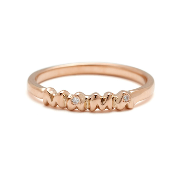 mama band ring - 18k pink gold and diamonds