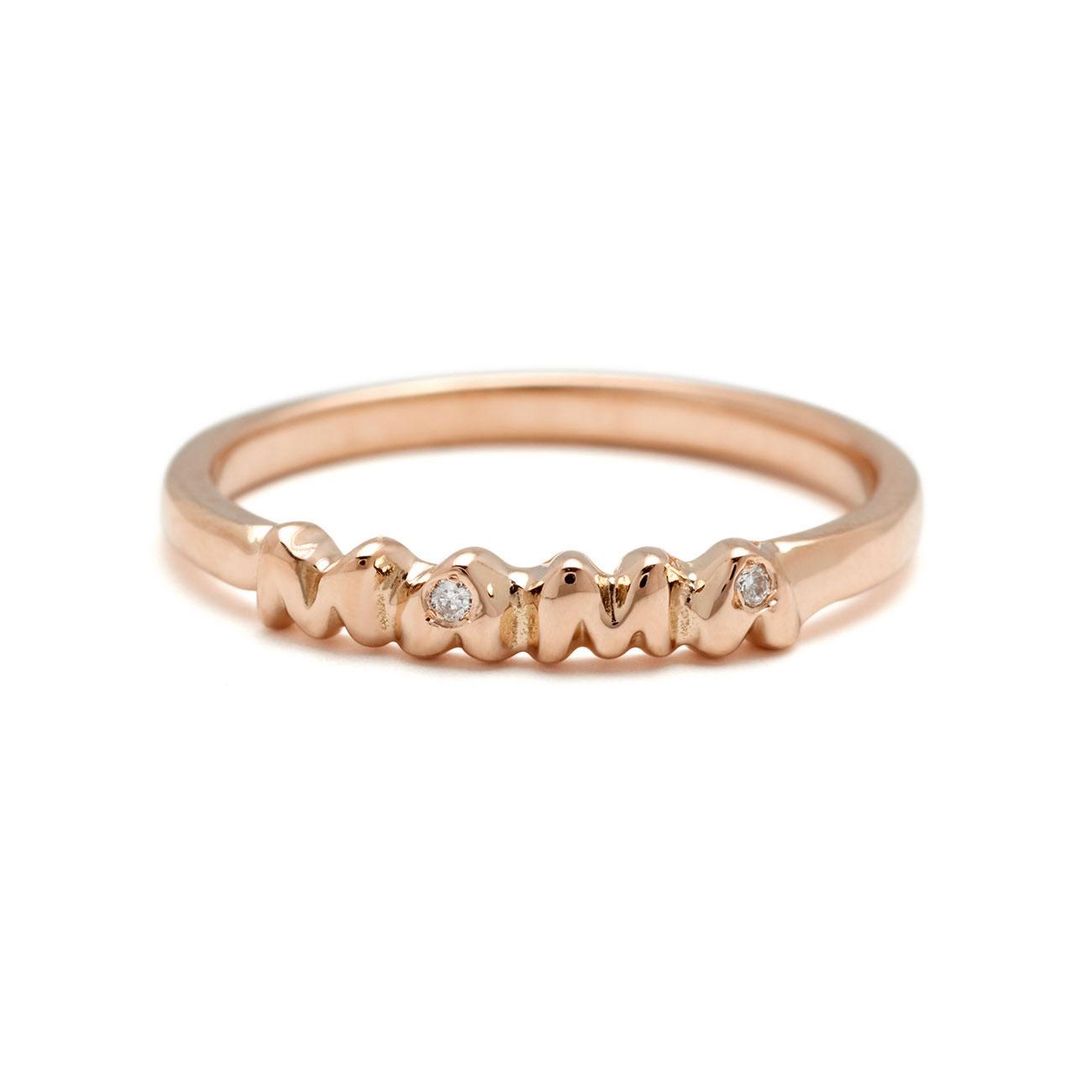 mama band ring - 18k pink gold and diamonds
